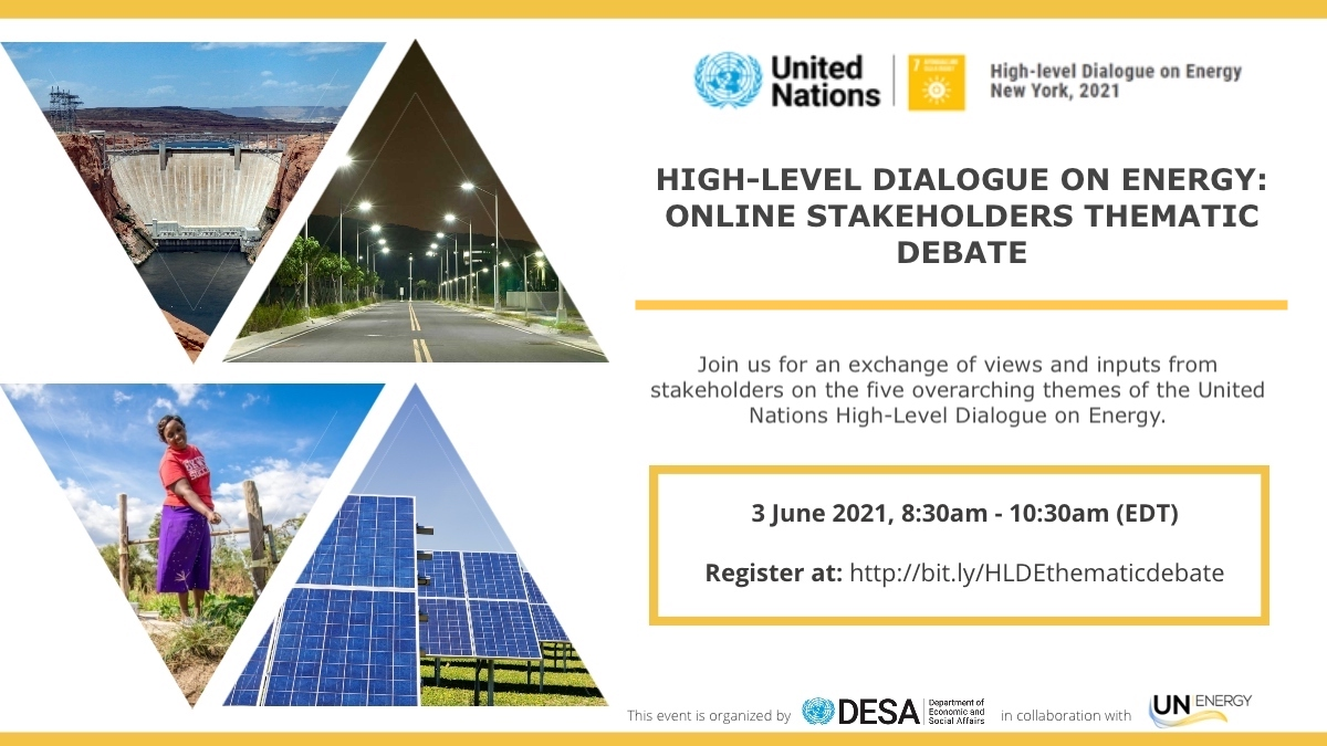 Event: High-Level Dialogue on Energy – Online Stakeholders Thematic Debate